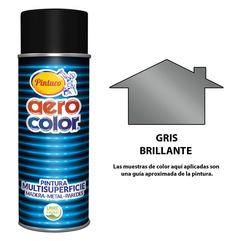 AEROCOLOR LACA BRILLANTE GRIS 300ml (12)(AG).